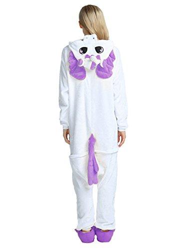 LATH.Pin® Jumpsuit Unisex animale cartone Carnevale costumi di Halloween Jumpsuit tuta pigiama in pile pigiama adulti Lounge Einhorn Lila