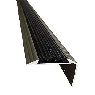 Aluminium Stair Nosing Edge Trim Step Nose Edging Titanium Silver Gold 1.2M TMW Profiles (Titanium)