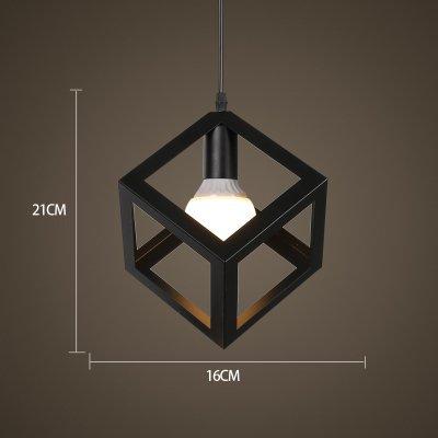 Luckyfree Kreative Einfache, moderne Pendelleuchte Zimmer Bar Cafe Restaurant Küche Flur Lampen Deckenleuchte Kronleuchter, schwarze Quadrat +6 W Lichtquelle Led