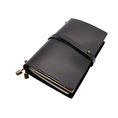 Recargable Cuaderno A6,Cuaderno Cuero Genuino,Diario de Viaje, Libreta Natural,Libretas Bonitas Cuero Real,Regalos para Escritores Hombre,Cuadernos (Negro)