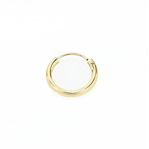 Gold-ohrringe Männer (NKlaus EINZEL 585 gelb Gold CREOLE Ohrring Ohrschmuck rund Goldohrring 13mm 1846)