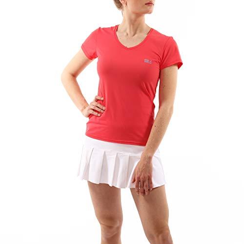 Sportkind Mädchen & Damen Tennis, Fitness, Sport T-Shirt V-Ausschnitt, pfirsich, Gr. L