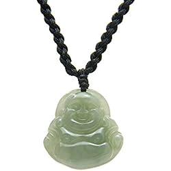 """Agathe Creation JCA0032014 Collar de piedras de jade natural (categoría """"A""""), diseño de Buda que ríe, atrae la felicidad, hecho a mano"""