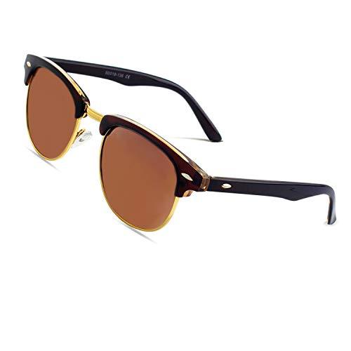 CGID MJ56 clubma Retro Vintage Sonnenbrille im angesagte 60er Browline-Style mit markantem Halbrahmen Sonnenbrille,Braun-Braun