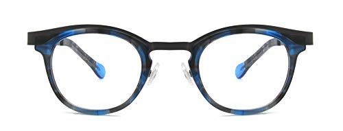 RICHMODE Women Round Metal Eyeglasses Amber Color Italian Design Eyewear Frame (Blau)