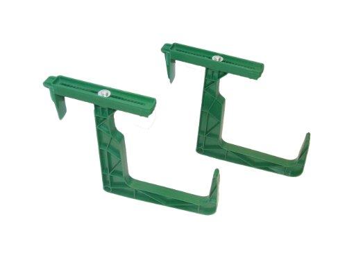 Lot de 2 supports de jardinières robustes et ajustables pour balcons et rebords de fenêtre - Vert