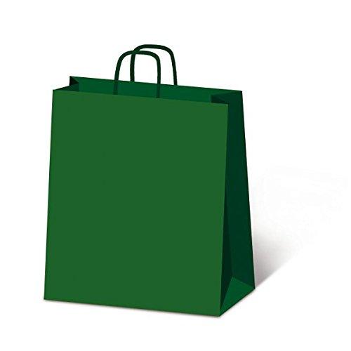 Sadoch 305218 Borsa in Carta con Manico Ritorto, Confezione da 25 Pezzi, Verde