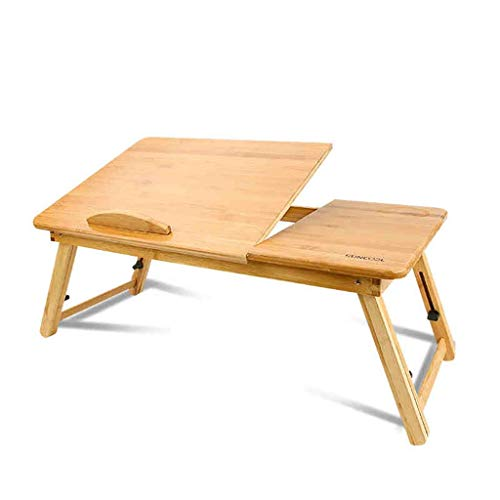 """A-Lnice Tragbarer Bambus Faltbarer Laptop Schreibtisch Notebook Höhenverstellbar Tablett Betttisch mit Schublade Am besten für 14 """"Notebook"""