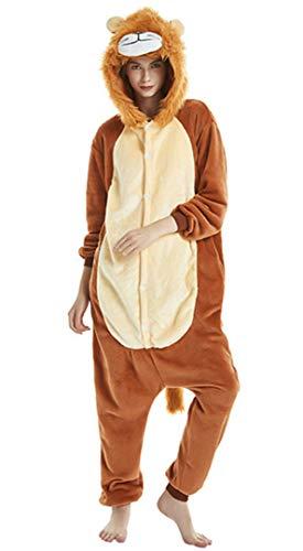 Silver Basic Damen Tier Karton Schlafoveralls Fasching Weihnachten Kostüm Onesie Unisex Cosplay Jumpsuit Schlafanzug Erwachsene Löwe XL