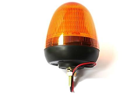 12-24V LED Beacon - Amber - Single Bolt Mount - 60xSMD5050 LEDs - Ratchet Lock Lens
