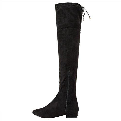 Filles Noir Faux Daim au dessus du genou Bottes Longues Talon Haut Massif Chaussures Plates Pointure Black (Flat)