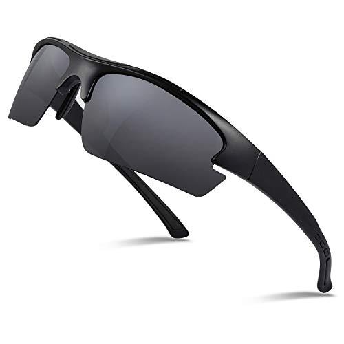 Occffy Polarisierte Sportbrille Sonnenbrille Fahrradbrille mit UV400 Schutz für Herren Autofahren Laufen Radfahren Angeln Golf TR90 (597 Schwarze Matte Rahmen mit Schwarze Linse)