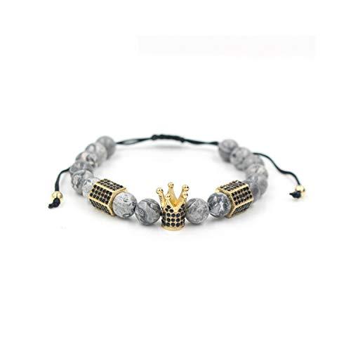 Awertaweyt Edelstein Perlen Armband Fashion 8MM Marble Stone Bead Gold Color Micro Pave Black & Hexagonal Charm Braiding Men Women Macrame Bracelet Gold (David Yurman Ring Damen)