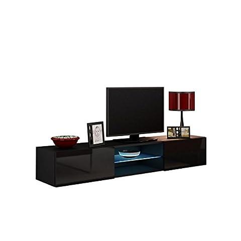 TV Lowboard Vigo Glas 180 cm, Fernsehschrank, TV Schrank mit Gehärtes Glasboden, Hängeschrank mit Grifflose Öffnen, Hochglanz (ohne Beleuchtung, Schwarz / Schwarz Hochglanz)