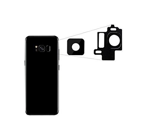 RepairMedia-Shop ★RM★ Für Samsung Galaxy S8 Kameralinse Kamera Objektiv Glas Scheibe Lens Scheibe mit Rahmen Linse Midnight Black Tief Schwarz Ersatzteil ★RM★