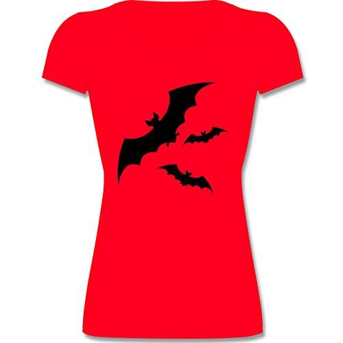 Tiermotive Kind - Fledermaus - 116 (5-6 Jahre) - Rot - F288K - Mädchen T-Shirt (Beliebte Teenager Halloween Kostüme)