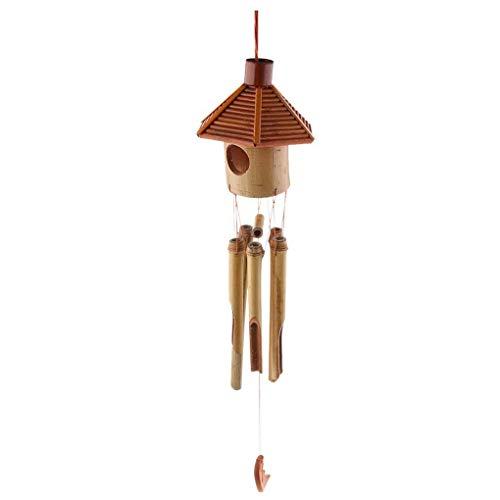 fgghfgrtgtg Hexagon Pavillon Bambus Mond Anhänger Wind Chime Wind Bell Home Office Schule Hotels Schmuck -