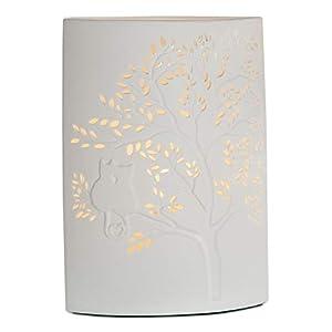 GILDE Lampe Katze auf Baum - aus Porzellan mit Lochmuster in weiß H 28 cm