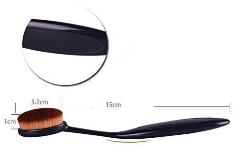 New Pro Brosse à dents en forme de poudre liquide Crème Fond de teint Tête ovale Pinceaux Maquillage avec sourcils Pochoir