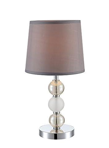 Tischleuchte silber Tischlampe 1-flammig Büro Wohnzimmer Leuchte Glas Chrom Globo 21679T