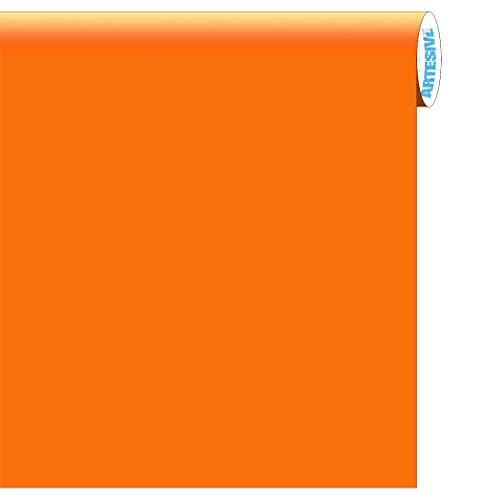 artesive ma-008 arancione opaco larg. 60 cm al metro lineare- pellicola adesiva tinta unita per decorazione interni per rinnovare mobili, porte e oggetti di casa