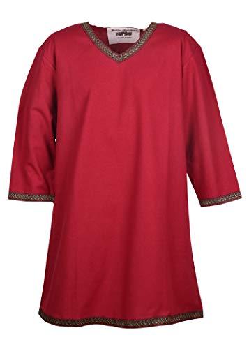 Battle-Merchant Wikinger Tunika Langarm für Herren Mittelalter LARP Kostüm (Rot, Größe - Herren Kostüm Mittelalterliche Muster