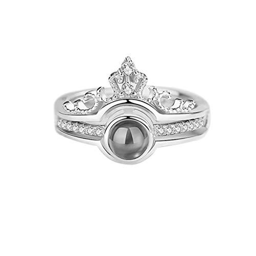 Juwelen Kinder Schuhe (UINGKID Schmuck Damen Ring 100 Sprachen Ich Liebe Dich Romantisches Geschenk Ring Zwei in Einem Diamant Damen Schmuck)