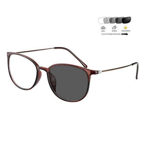 Eyetary Photochrome Lesebrille Männer Frauen Mode Retro Vollrand Brillengestell 1,56 Asphärisches Optische Linse Sonnenleser UV400 Blendschutz (+ 1,00 bis + 6,00 Dioptrien),BrownFrame,+3.25