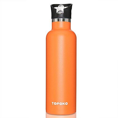 topoko 25Oz Edelstahl Wasser Flasche auslaufsicher Flasche, BPA-frei Metall Deckel mit Griff, hellorange