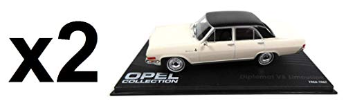 Eaglemoss Posten von 2 identischen Miniaturautos: OPEL Diplomat A V8 White Limousine Maßstab 1:43 -ref 04
