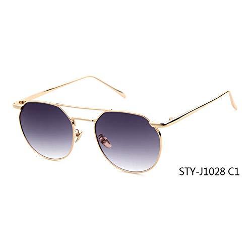 Taiyangcheng Klare Linse Runde Damenmode Sonnenbrillen Männer Doppelstrahl Sonnenbrille Damen Weiblich,C1