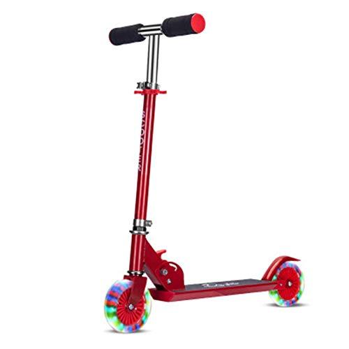 Kyman Kids 2-Rad-Tretroller - Einstellbare Griffe-Für Kinder im Alter von 2-8 - Mit LED-Licht-Up Rädern, faltbares Design (Color : Red)
