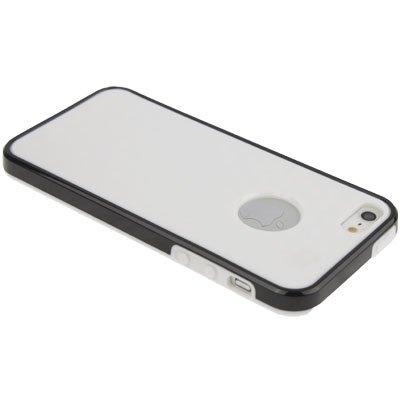 IPhone 5/5S coque de protection en silicone-blanc/noir-par «qube pattern-style avec ausschnit pour le logo apple -original tHESMARTGUARD- uniquement
