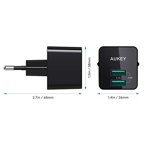 AUKEY Caricabatterie USB da Muro Ultra Compatto, Doppia Porta USB 2,4A Caricatore USB con Tecnologia AiPower per iPhone X / 8/8 Plus, iPad Air/PRO, Samsung, HTC, LG ECC.