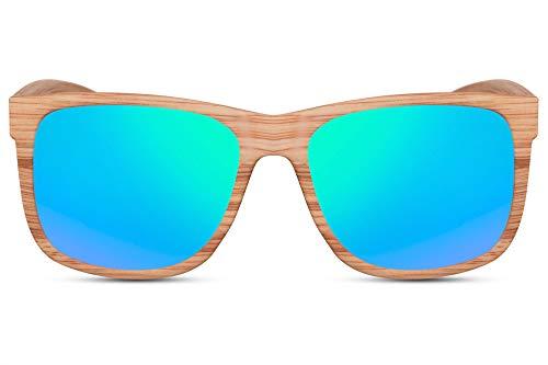 Cheapass Sonnenbrille Holz-Optik Hell-Braun Grün-Blau Verspiegelt UV-400 Recht-Eckig Plastik Damen Herren