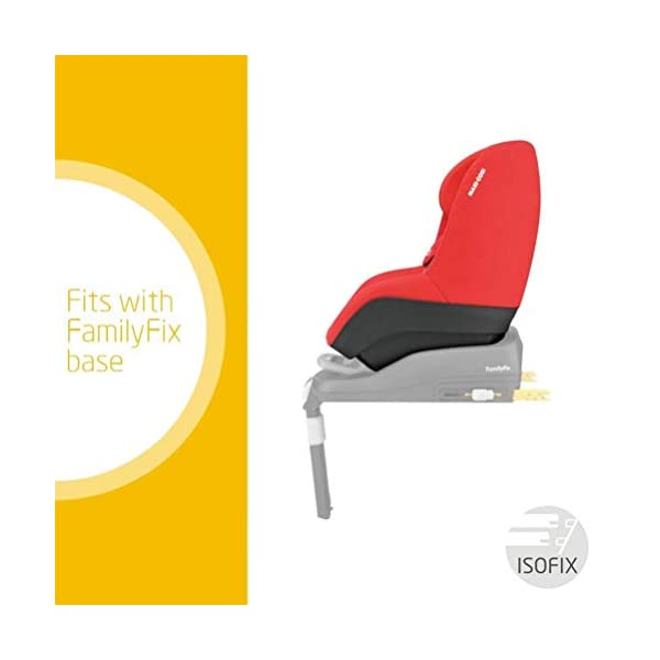 Maxi-Cosi Pearl Toddler Car Seat Group 1, ISOFIX Car Seat, Compact, 9 Months-4 Years, 9-18 kg, Nomad Red with FamilyFix ISOFIX Base Suitable for CabrioFix and Pearl, Black Maxi-Cosi Isofix anchorages provides the safest, easiest and quickest way to install a car seat Innovative stay open harness stays open to easily get the child in and out in seconds ISOFIX car seat base suitable for children up to 18 kg (from birth to 4 years) 4