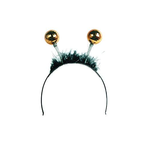 Amakando 80er Jahre Haarreif - Gold - Haarreifen Spiegelkugeln 70er 80er Party Kopfschmuck Disco Balls Haarschmuck Kostüm Accessoire Damen Tiara mit Discokugel
