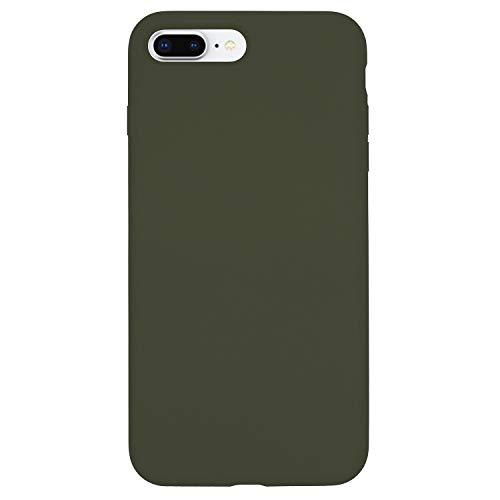 Danbey Silikonhülle für iPhone 8 Plus / 7 Plus, 5,5 Zoll, flüssiges Silikon, Matte Oberfläche, hautfreundlich, farbenfroh, Dunkles Olivgrün -