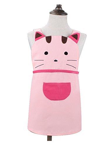 oddler Cartoom Cat Bestickter Schürze Baumwolle Kinder Schürze Chef Küche Kochen Backen Schürze für Kinder 2–4Jahren (Pink) ()
