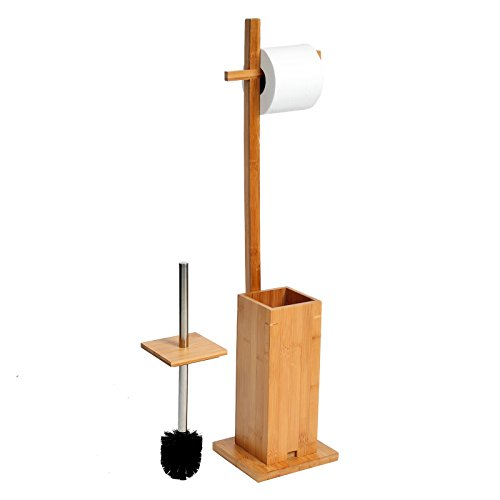 WC Bürstenhalter Set , Stand WC Garnitur freistehender Toilettenbürstenhalter Bürsenhalter mit eine WC Toilettenbürste , aus Bambus , 17x15x75cm , natur , BZ4118