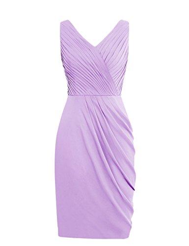 Dresstells, robe de demoiselle d'honneur Robe de soirée de cocktail courte sans manches col en V Lavande