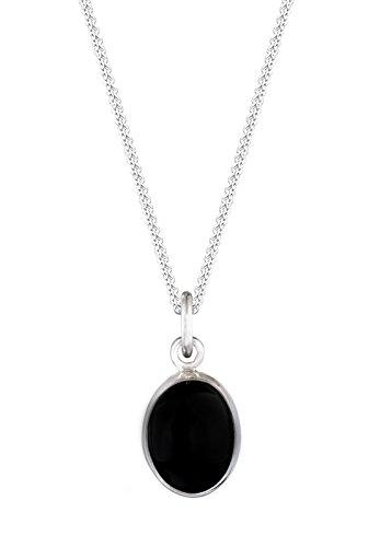 Elli Damen-Kette mit Anhänger 925 Sterling Silber Onyx schwarz Carbochonschliff 01503414_45