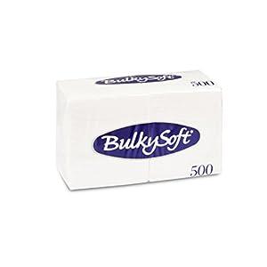 Bulky Soft BS-32051 Servietten 1/4 Falz, 1-lagig, 24 cm x 24 cm, Hochweiß (500-er Pack)