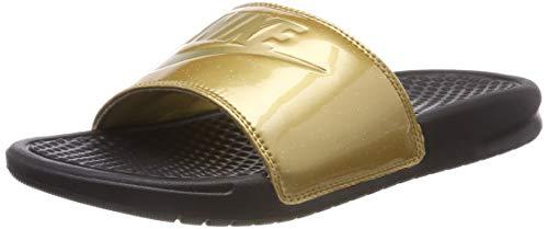 Nike Wmns Benassi JDI Print Scarpe da Scogli Donna, Multicolore (Black/Metallic Gold 022) 38 EU
