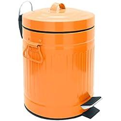 SANWOOD 1008208Oscar Poubelle à pédale avec système d'abaissement Automatique Poubelle de Salle de Bain 5L dans Le Poubelles Design Rétro, Métal, Orange, 21.4x 26.4x 29,2cm