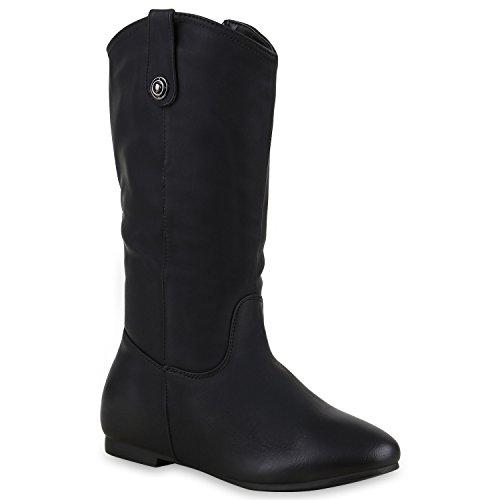 Damen Stiefel Flache Boots Schlupfstiefel Schuhe 129215 Schwarz All 39 Flandell (Cowgirl Schuh Western Boot)