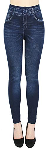dy_mode Thermo Leggings Damen Jeggings gefüttert Jeansoptik - WL046 (40/42 - L/XL, WL099-Tiefblau)