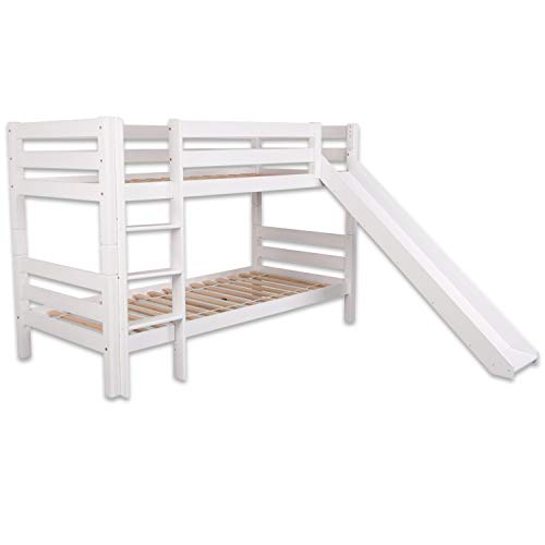 Bubema Maja Kinder Etagenbett/Hochbett, Buche massiv, mit oder ohne Rutsche, verschiedene Farben Farbe Weiß lackiert, Größe Mit Rutsche