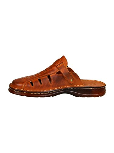 Sandales De Type Mule Pour Homme En Cuir Reel De Bison De Forme Orthopedique Chaussures Confortables Modele 801/2 Brun