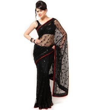 Sargam Fashion Traditional Party Wear Black Net Saree - SRF-146